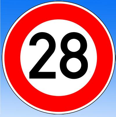 Lustige Schild mit Wünnschen zum 28. Geburtstag