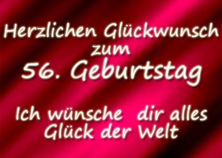 WhatsApp Grüße zum 56. Geburtstag mit Herzen