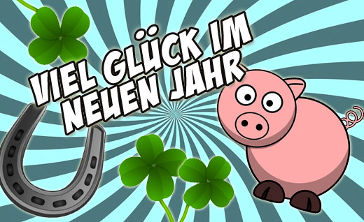 Bild mit Schwein zum neuen Jahr