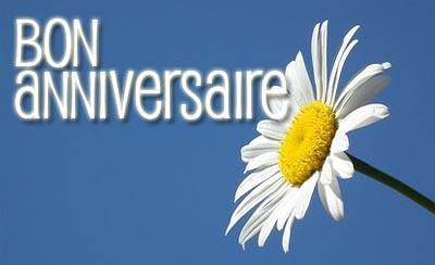 Französischer Geburtstagsgruß mit Blume