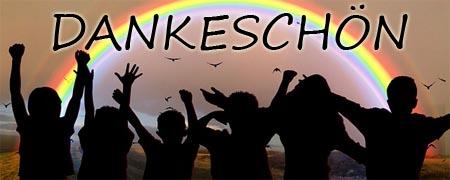 Dankeschön mit jubelnden Kindern unter einem Regenbogen