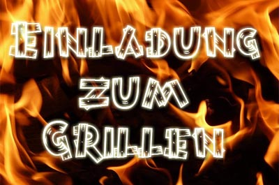 Feuer als Motiv für eine Einladung zum Grillen