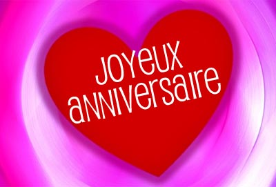 Französische Grüße zum Geburtstag in einem Herz