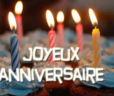 Geburtstagstorte mit französischem Geburtstagsglückwünschen