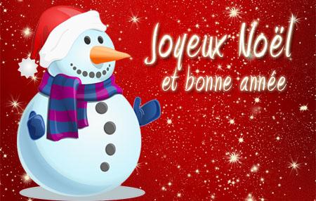 Schneemann mit französischen Weihnachtswünschen