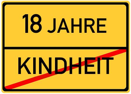 Lustige Schild mit Spruch zum 18. Geburtstag