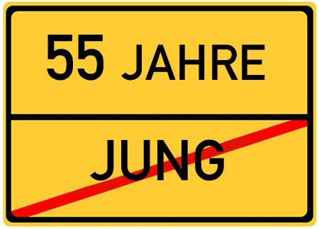 Lustiges Schild als Bild zum 55. Geburtstag
