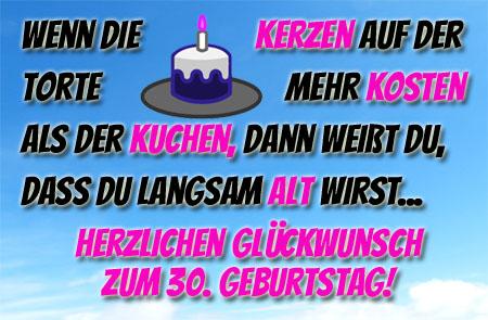 Lustige Glückwünsche zum 30. Geburtstag