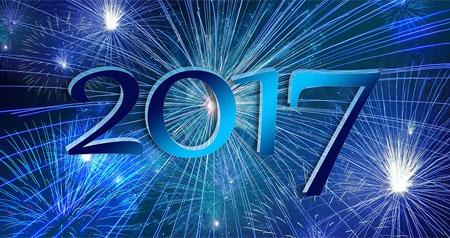Feuerwerk in Blau als Neujahrsgrüße für 2017