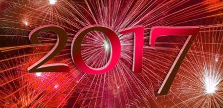 Rotes Feuerwerk zum Jahr 2017