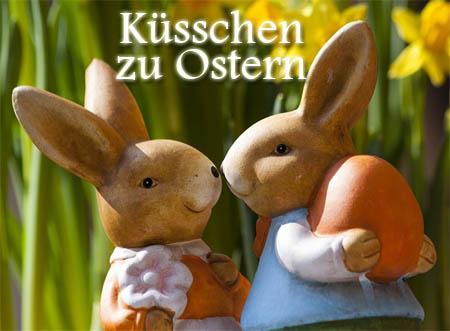 Küsschen zu Ostern mit süßen Hasen Bild