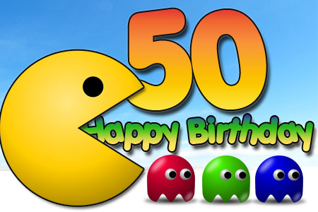 Pac Man fängt ein Happy Birthday