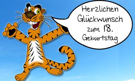 Tiger gratuliert tierisch zum 18.