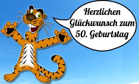 Tiger gratuliert und sende liebe Grüße für Fünfzigjährige