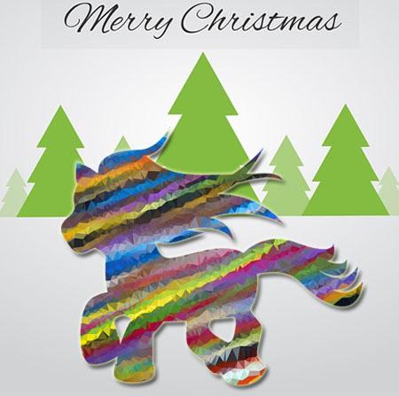 Regenbogenpferd wünsche Merry Christmas