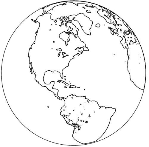 Erde Malvorlage als Erdkugel