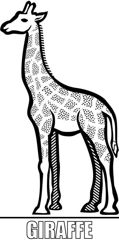 Malcvorlage Giraffe zum Ausdrucken