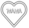 Ausmalbild mit Herz und Mama