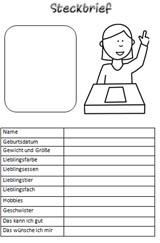 Grundschule Steckbrief Vorlage zum Ausdrucken
