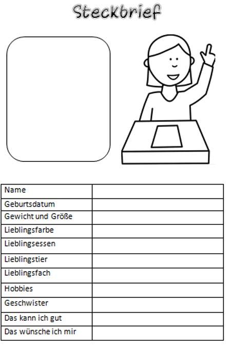 Grundschule Steckbrief Vorlage
