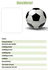 Steckbriefvorlage für Jungen mit dem Thema Fußball