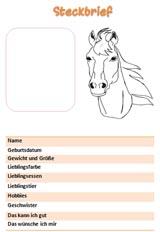 Steckbrief Vorlage für Mädchen mit Pferd