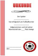 Urkunde zum Fußball zum Ausdrucken