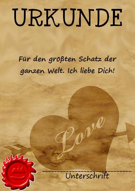Urkunde Liebe