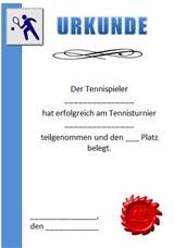 Urkundenvorlagen Tennis zum Ausdrucken